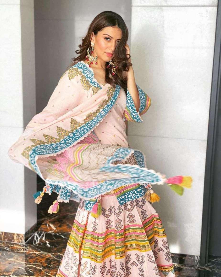 Hansika Motwani in a pink phulkari set by Sukriti and aakriti for my name is shruti puja-1