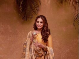 Huma qureshi in cadmium yellow anarkali by saundh for eid-4