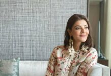 Kajal Aggarwal in linen coords by Label anushree