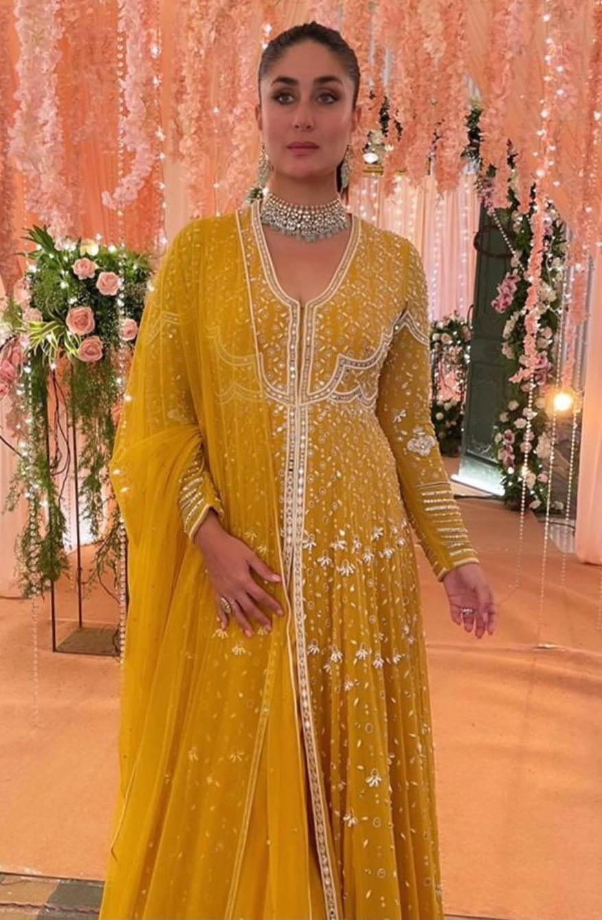 Kareena Kapoor khan in yellow ridhi suri anarkali for an ad shoot