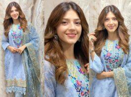 Mehreen Pirzada in Rj pret sky blue kurta set-featured