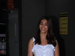 Pooja Hegde in white forever 21 top and patch worked denim at the airport
