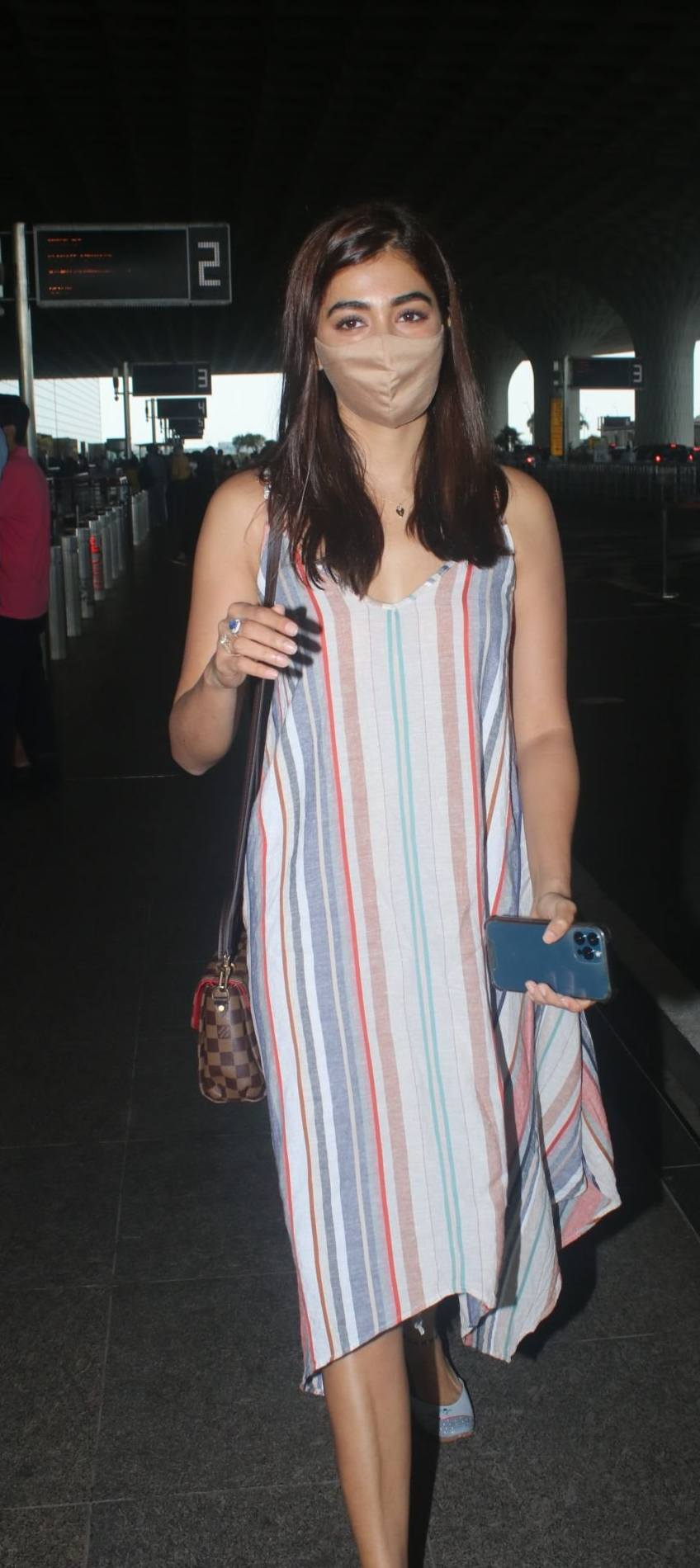 Pooja hegde in a striped dress at the airport-4