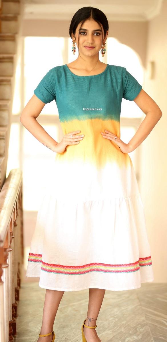 Priya Prakash Varrier in a colourful dress at Ishq movie interview-1