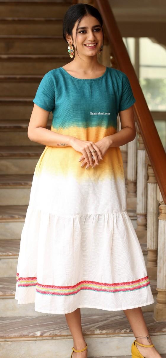 Priya Prakash Varrier in a colourful dress at Ishq movie interview-2