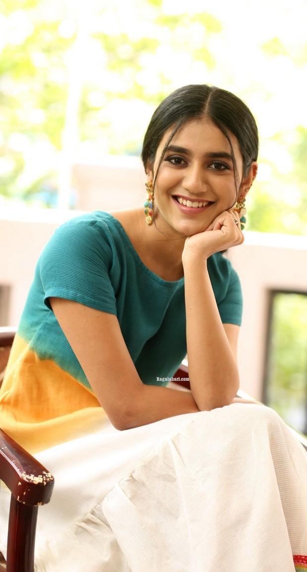 Priya Prakash Varrier in a colourful dress at Ishq movie interview-3