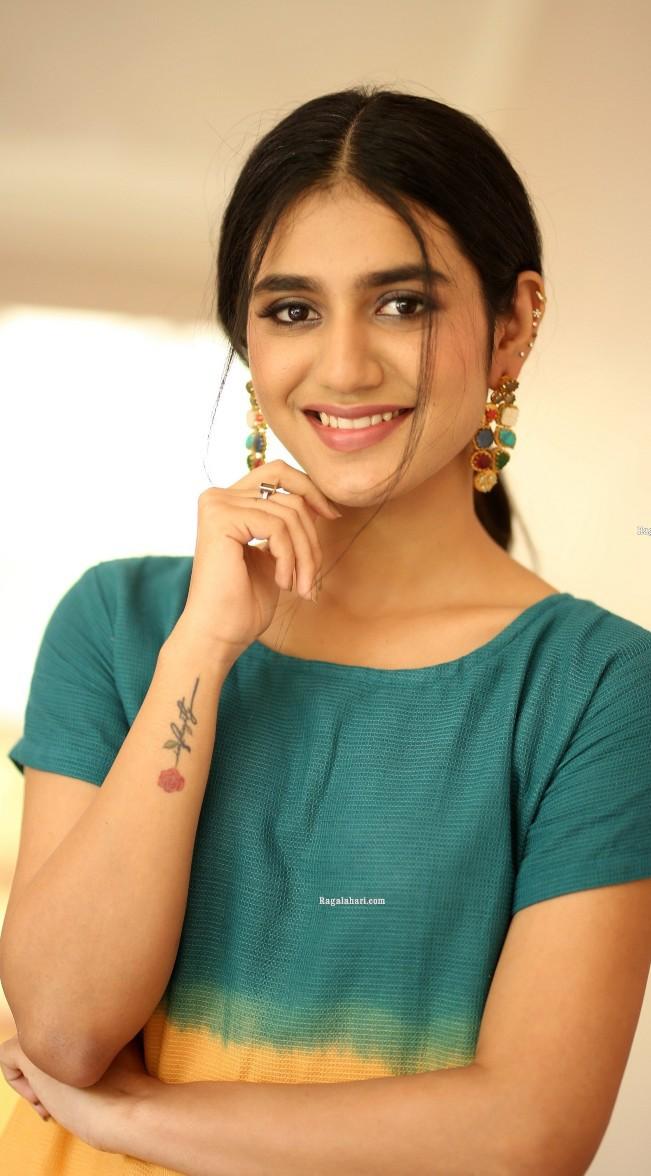 Priya Prakash Varrier in a colourful dress at Ishq movie interview-4