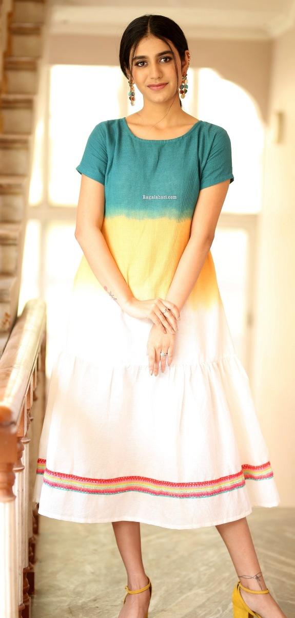 Priya Prakash Varrier in a colourful dress at Ishq movie interview