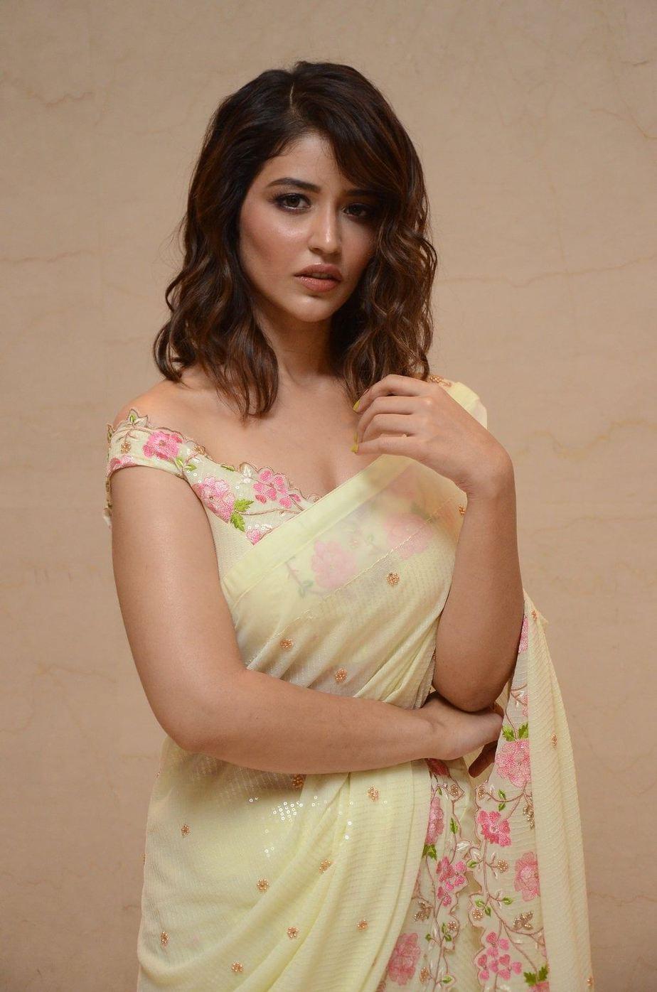 Priyanka Jawalkar in a cream saree at Thimmarusu pre-release event-3