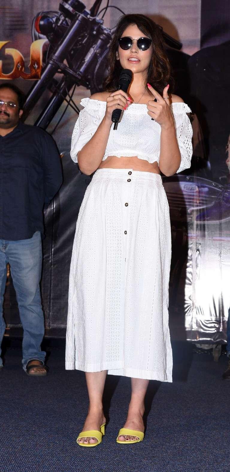 Priyanka jawalkkar in white skirt and crop top at Thimmarusu press meet