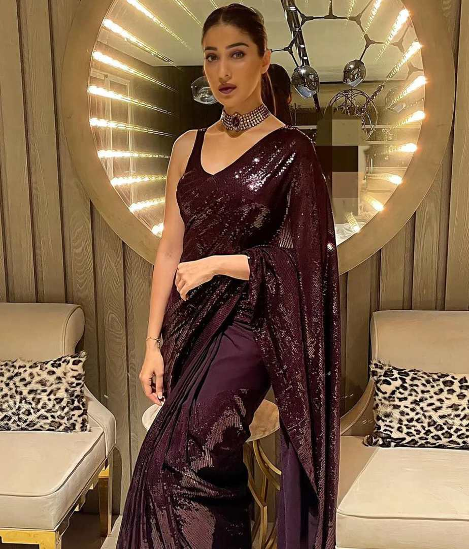 Raai laxmi in wine sequinned saree by bharti's for #Dishul after-party-1