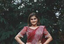 Ramya Nambessan in a red saree by Virupa -2