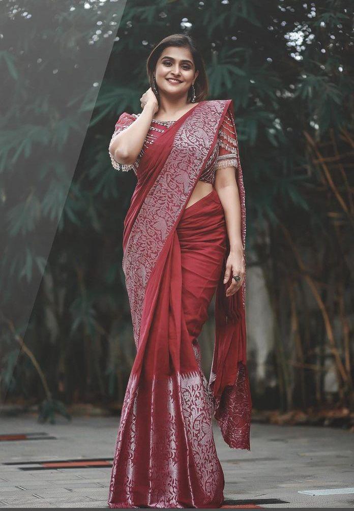 Ramya Nambessan in a red saree by Virupa -1