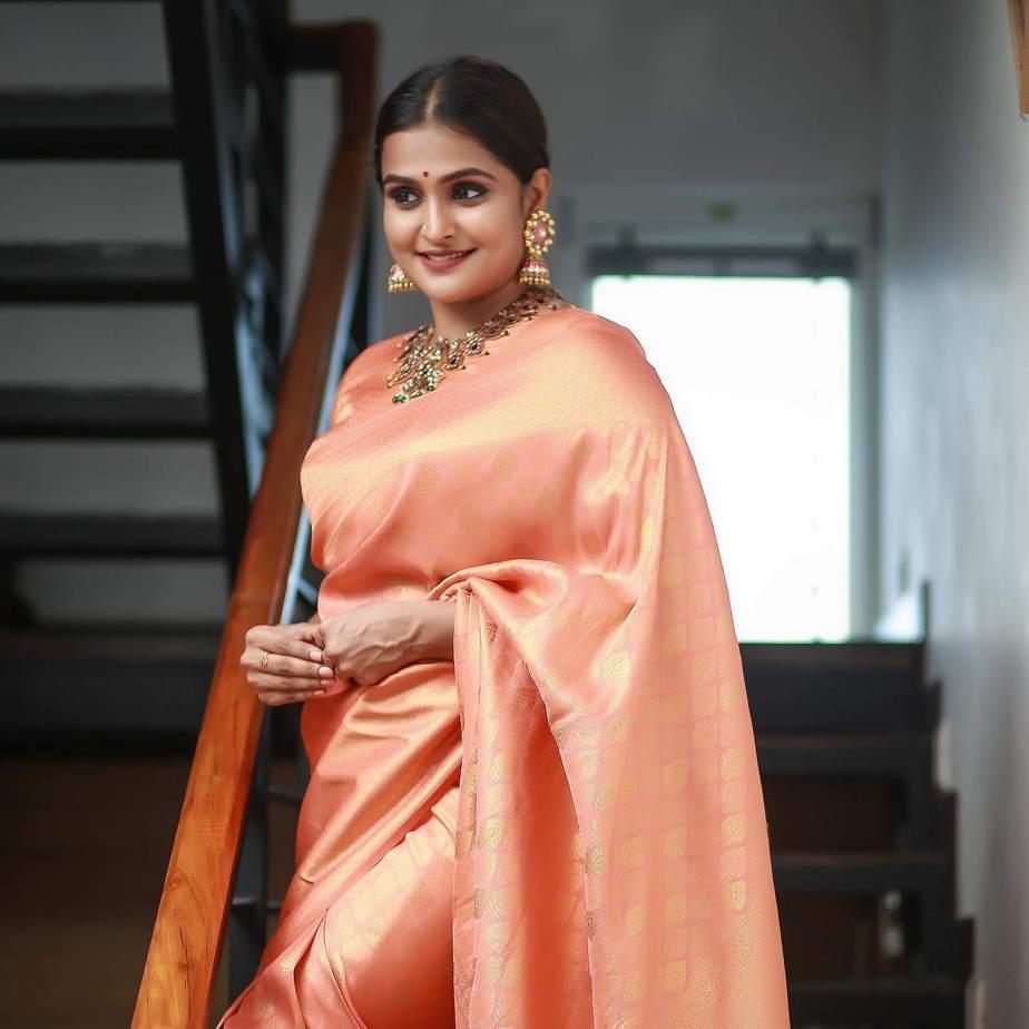 Ramya Nambessan in peach pattu saree by Devraagh-2