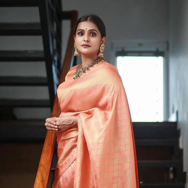 Ramya Nambessan in peach pattu saree by Devraagh-3