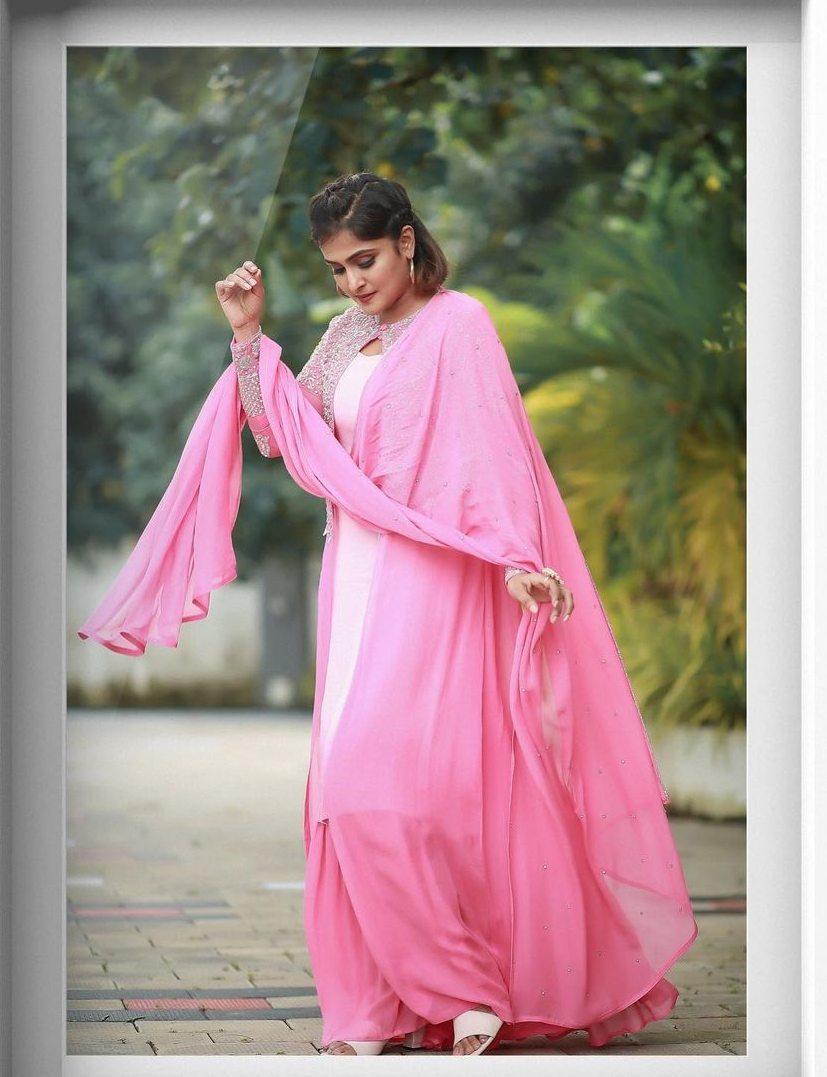 Ramya Nambessan in pink skirt set by Shero designer-1