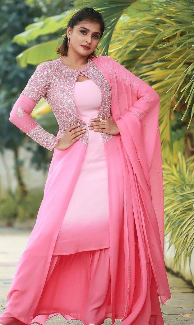 Ramya Nambessan in pink skirt set by Shero designer-2
