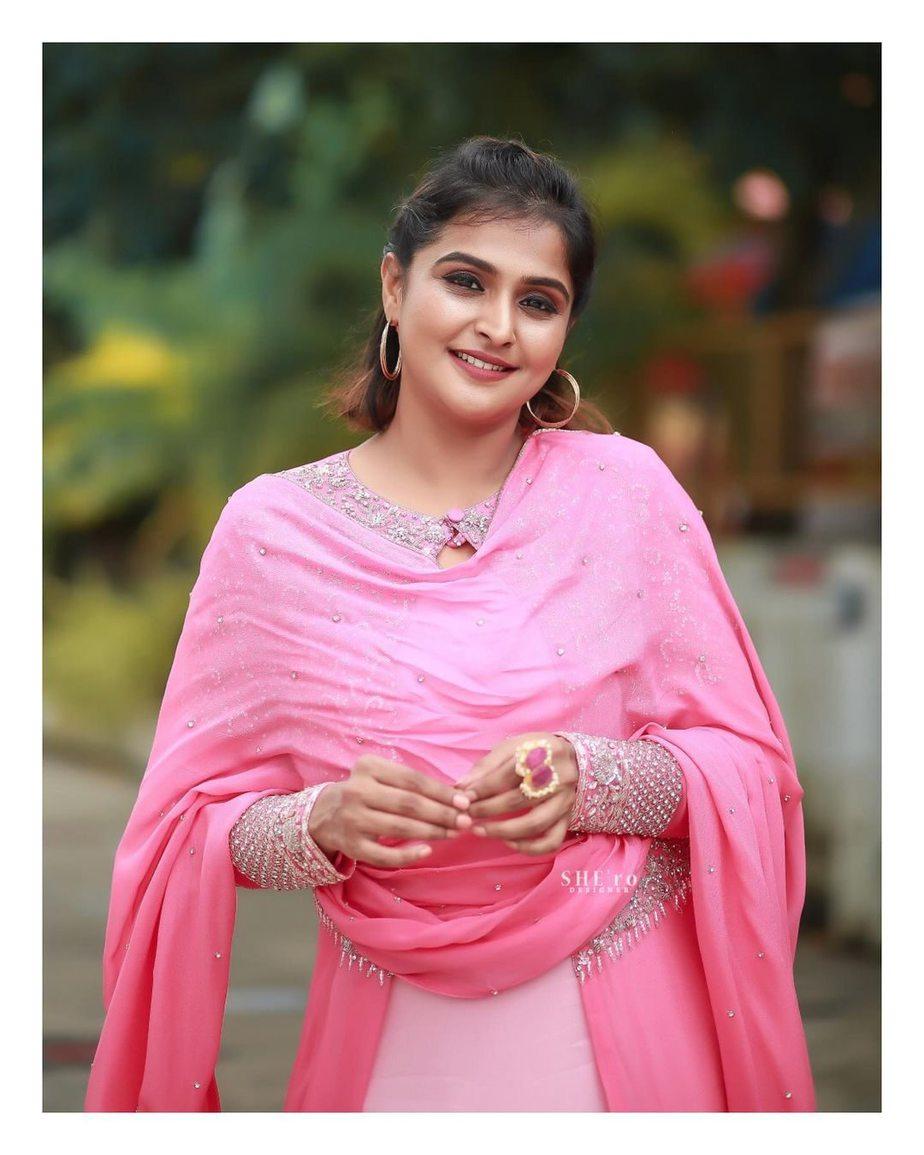 Ramya Nambessan in pink skirt set by Shero designer-3