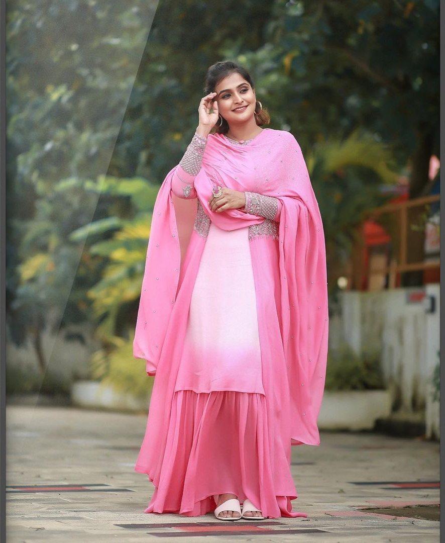 Ramya Nambessan in pink skirt set by Shero designer