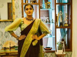 Ramya Nambessan in zari culture saree-1