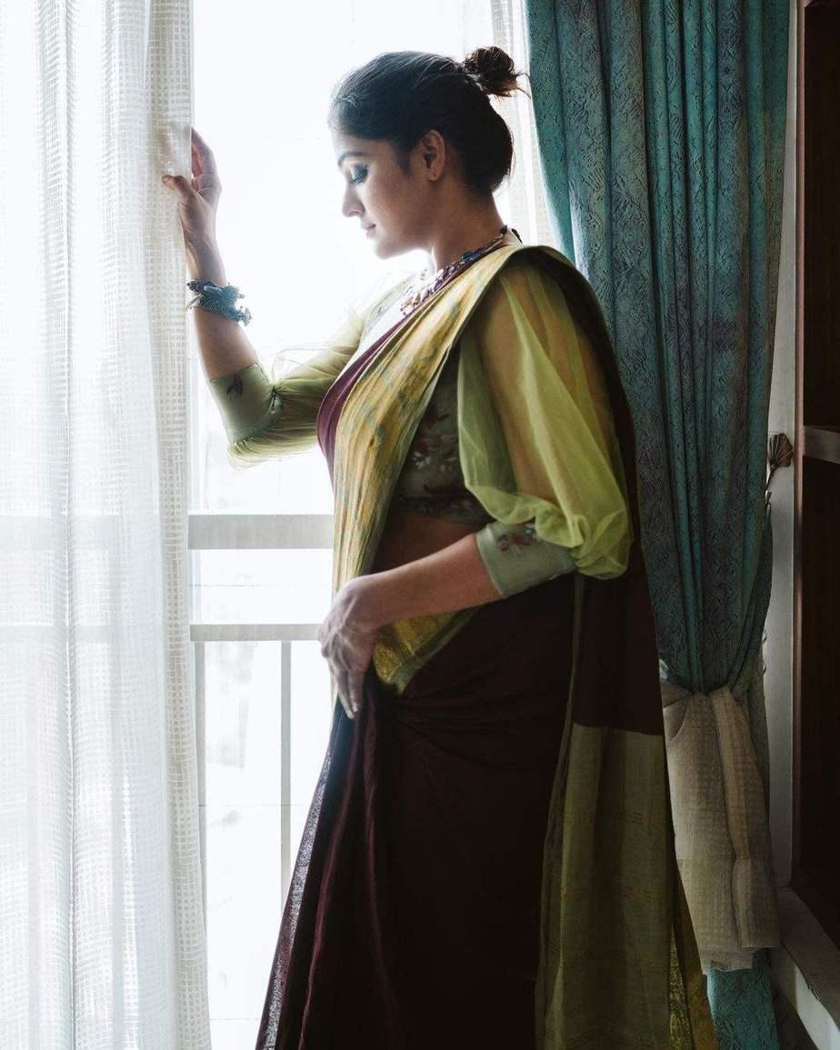 Ramya Nambessan in zari culture saree-2