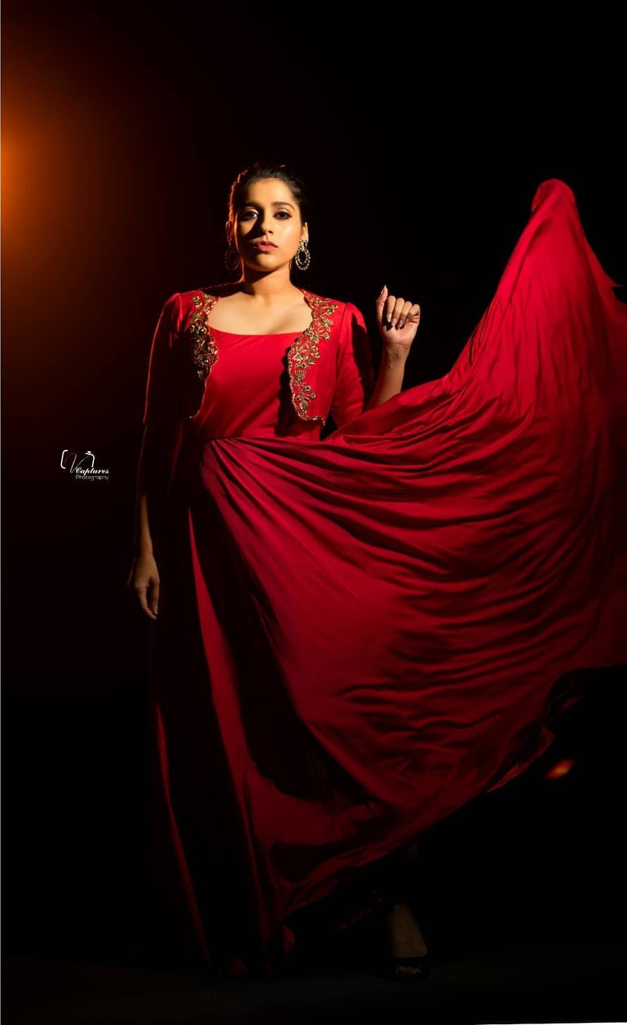 Rashmi Gautam in red overcoat long dress by Varahi couture for dhee-1