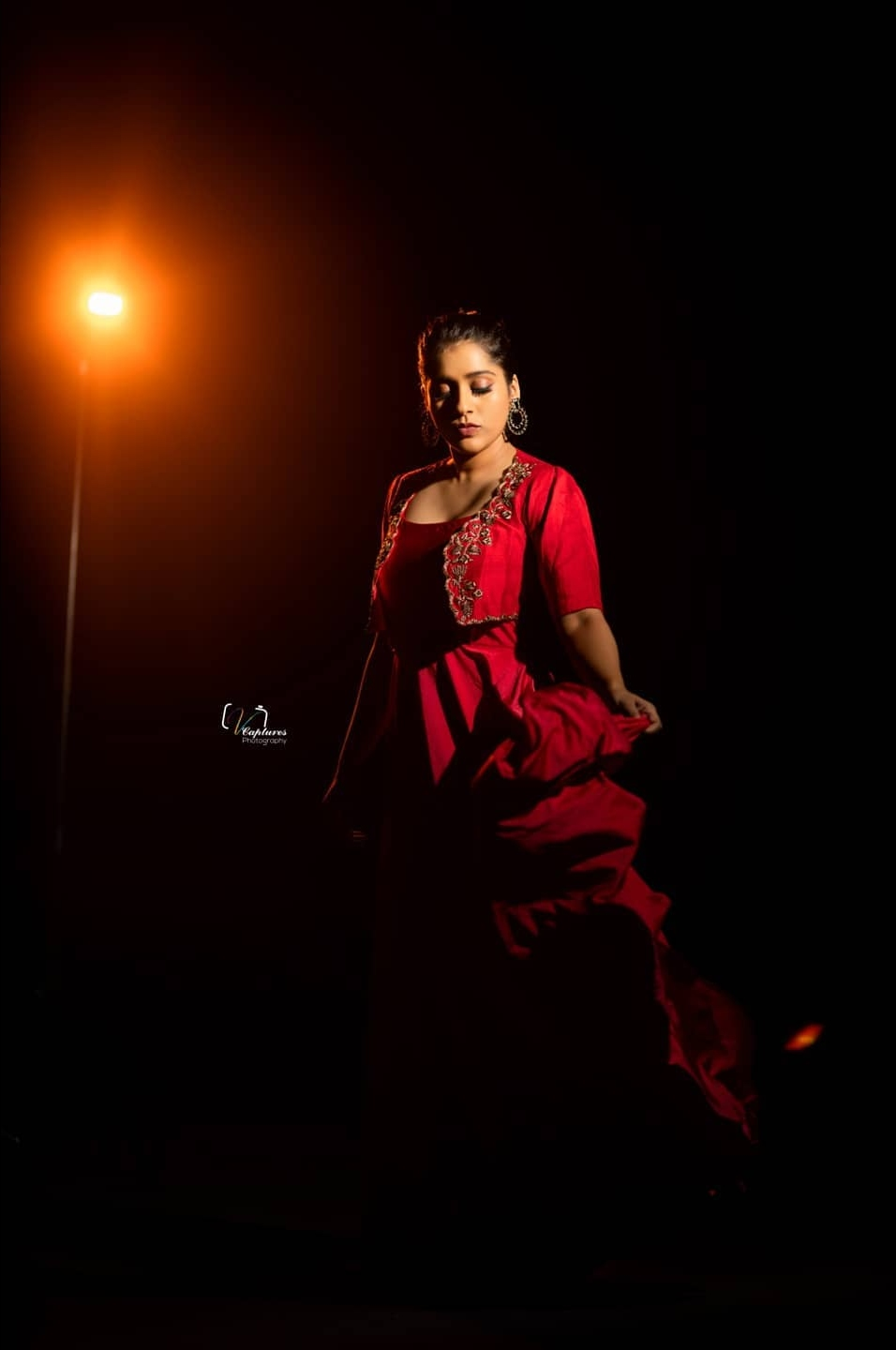 Rashmi Gautam in red overcoat long dress by Varahi couture for dhee