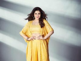 Raveena Tandon in yellow cape set by Bhumika Grover for dance deewane-2