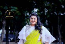 Roja Selvamani in starry dreams neon green saree for Jabardasth-2