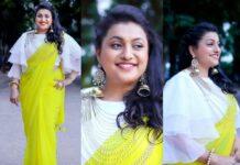 Roja Selvamani in starry dreams neon green saree for Jabardasth-featured