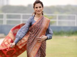 Shilpa Reddy in red AJRAK saree by Kankatala for q&a-1