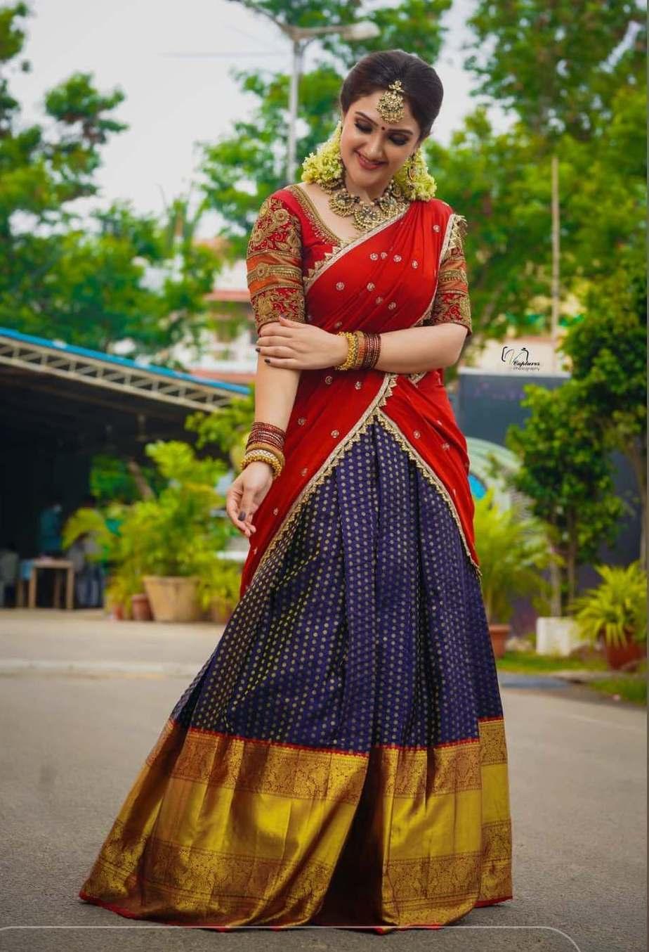 Sridevi vijaykumar in kowshiki couture half saree for comedy stars-3