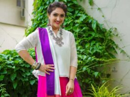 Sridevi vijaykumarr in a western saree drape by Feathers boutique for comedy stars