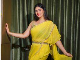 Surbhi Puranik in yellow saree by Priya Machineni-2