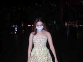 Tamannaah Bhatia in a lace dress at Mumbai airport-1