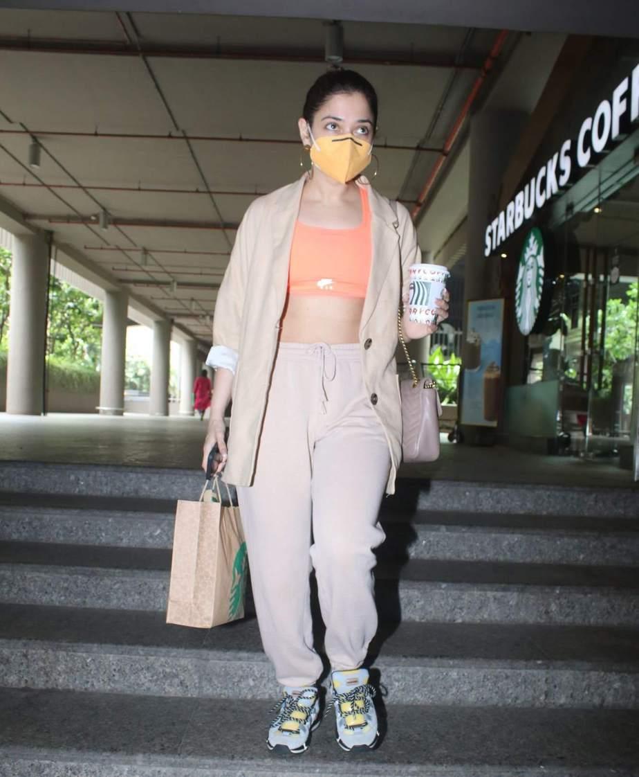 Tamannaah Bhatia in beige coord set at airport-1