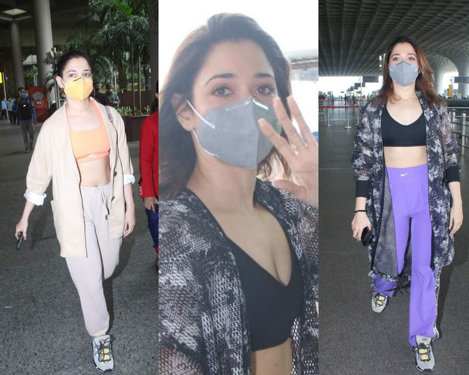 Tamnannaah Bhatia in a purple track suit and long coat at airport-featured