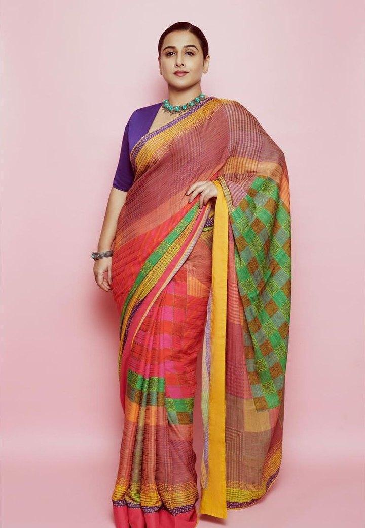 Vidya Balan in a Ritu Kumar saree for Sherni promotions-1