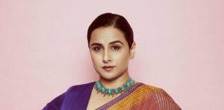 Vidya Balan in a Ritu Kumar saree for Sherni promotions