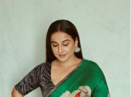 Vidya Balan in a floral green saree by Yam for Sherni promotions