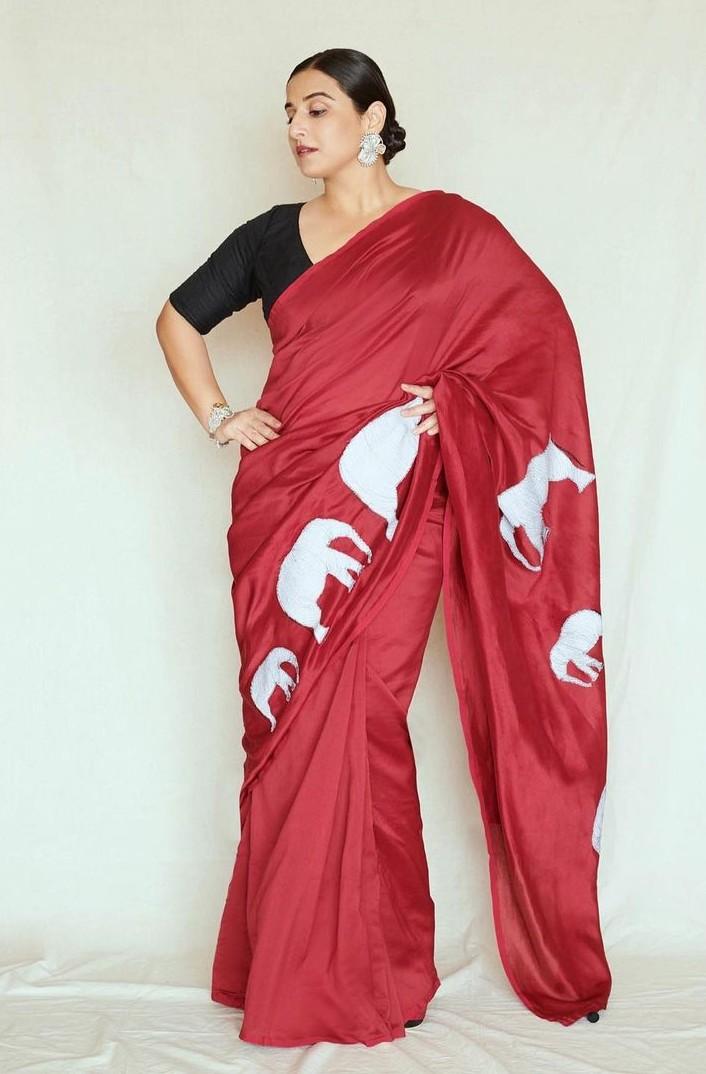 Vidya Balan in a red saree by Rouka for Sherni -1