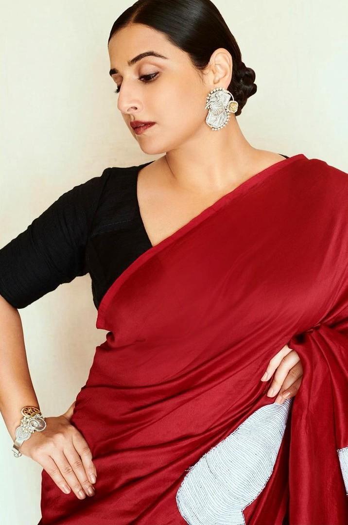 Vidya Balan in a red saree by Rouka for Sherni
