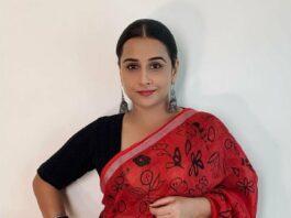 Vidya Balan in a red saree by kavana for 'sherni_ promotions