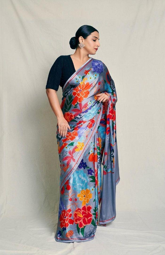 Vidya balan in a grey saree by kshitij jalori for sherni promotions-2