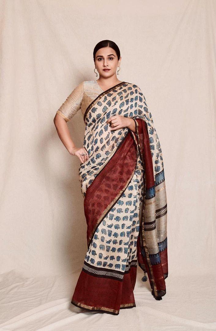 Vidya balan in a ivory chhapa saree for sherni promotions-2