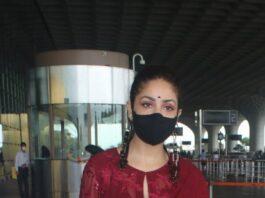 Yami Gautam in a red kurta set at the airport-2