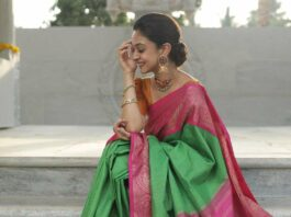 aishwarya arjun in bhargavi kunnam saree for her family temple opening day -2-1