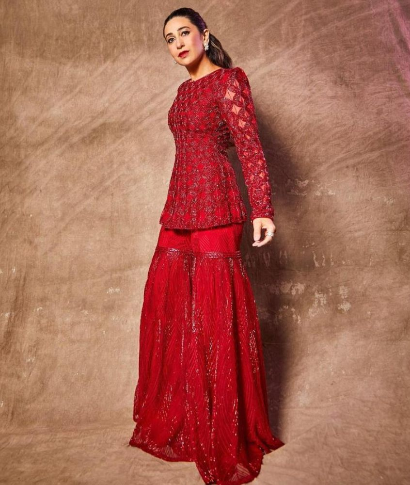 Karishma Kapoor looked fiery hot in red sharara set from the label Ritika Mirchandani!