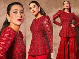 arishma in red peplum style suit from ritika featured
