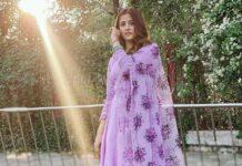 nupur sanon in lavender suit from neha chopra